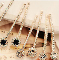 Barrettes & Clips wholesale hair barrettes - 2016 New Fashion Long Rhinestone Hair Clip Fashion stones Hair Jewelry For Women Crystal Hair Accessories
