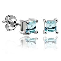 Wholesale 2014 New Sterling Silver Natural Sky Blue Topaz Princess Earrings Stud Christmas Gift JE