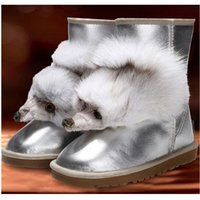 cow calf - Hot sellin ghigh Quality Black Silver fox head boots Winter snow boots waterproof Cowskin Half Boots Womens Boots US5 US9