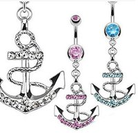 Wholesale Navel Ring Body piercing jewelry Korean fashion diamond navel ring shaped anchor hypoallergenic stainless steel navel ring