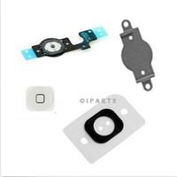 flex caps - 4pcs set For iPhone C G S G black white Home Menu Button Key Cap Flex Cable Bracket Holder Rubber Gasket iphone5 Parts