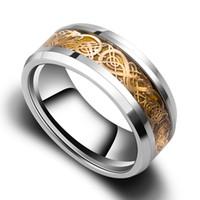 Tamaño al por mayor de la venda de boda de la joyería del Mens del anillo del carburo de tungsteno del dragón del oro del Mens de la venta al por mayor 8m m 4-13