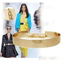 Wholesale Hot Women Wide Plate Full Metal Waist Mirror Chains Waistband Metallic Belt A