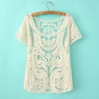 Wholesale 2015 Women s Spring summer wear new hollow out lace shirt Floral Crochet White Short Tops X E3100