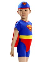 Cheap swimming children swimsuit boy trunks one piece swimwear kids superman swimsuit superman cape swimsuit with hat free shipping in stock