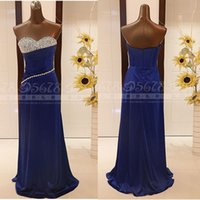 Wholesale Real Image Cheap Elegant Sheath Evening Dresses Royal Blue Sweetheart Sequins Bodice Pleat Embellished Chiffon Prom Party Gowns Vestidos