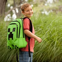 Wholesale 2014 Minecraft Backpack Game My World Children School Bags Kids Boys Mochila Double Shoulder Bag Block Coolie Strange Christmas Gift