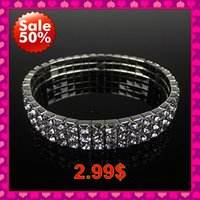 Wholesale New Fashion Shiny Stretchy Bangles In Stock Ready to Ship Cheap Bracelets Silver Plated Rhinestone Formal Evening Party Dresses Accessories