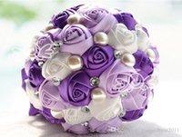 Wholesale New Bridal Wedding Bouquet High Quality Purple Red Cream Wedding Decoration Artificial Bridesmaid Flower Crystal Pearl Silk Rose R825