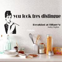audrey hepburn wall decal - bedroom decoration trade wall stickers Silhouette fifth generation white edge PVC transparent film Audrey Hepburn AY9062