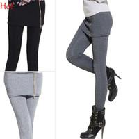 ankle zipper leggings - Top Hot Leggings Women False Two Pieces Stretch Legging With Mini Skirt Zipper Leggins Fitted Slim Pants Casual Leggings Grey Black SV008451