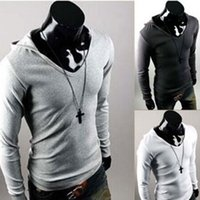 Wholesale Mens Leisure T Shirt Long Sleeve Hoodies Personalized British style men s hooded long sleeved T shirt Slim Spring Autum wear