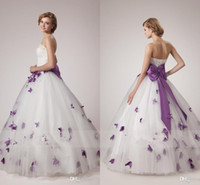 Wholesale Simple Flower Sash - White and Purple Wedding Dresses 2016 Unique A Line Strapless with Pearls Crystals Sleeveless Corset Bodice Bow Tie Sash Butterfly Appliques