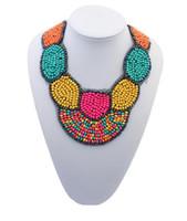beaded bib necklaces - Vintage Bohemian Style Colorful Beads Black Ribbon Statement Bib Chain Necklace