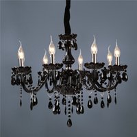 Wholesale 2015 Brand new Classic black Crystal Glass Chandelier Modern Fashion Art Pendant Lamp Dining Room Lamp Lights