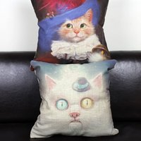 Wholesale Europe Oil Painting Style Cats Cotton Linen Pillow Cover for decorative
