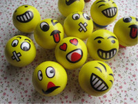 Big Kids Yellow PU Emoji Faces Squeeze Stress Ball Hand Wrist Finger Exercise Stress Relief Therapy - Assorted Styles New Christmas party gifts free shipping