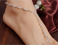 Wholesale Barefoot Sandals Stretch Anklet Chain with Toe Ring Slave Anklets Chain pair Retaile Sandbeach Free DHL ship