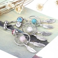 Wholesale 1 pc Dangle Gold plated Dream Catcher Hot Belly Ring Navel bar Fashion Body Piercing belly button rings Jewelry Surgical Steel