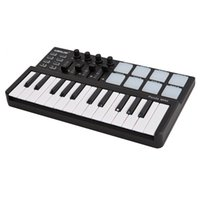 Wholesale Worlde Panda Mini Portable MIDI Velocity Sensitive Keys USB Keyboard and Drum Backlit Trigger Pads Controller Black Color I1429
