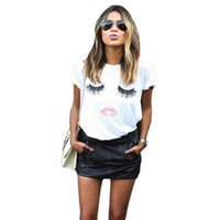Wholesale New Hot Summer Fashion T shirts Casual Short sleeve T shirts for Women Mascara lips Pattern Printed Short sleeve T shirts