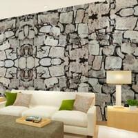 Wholesale 3D Luxury Natural Grey Brick Wall Stone Rock Slate Effect M Vinyl Wallpaper Roll papel de parede tapete R403
