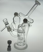 bong oil - 2015 New double recycler bong quot inches white color water pipe hot sell oil rig glass pipe