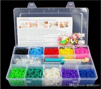 Cheap 2014 Factory price Rainbow loom kit plastic box for Kids DIY bracelets with 2000ps rubber bands 48 S-clips 1 hook 366