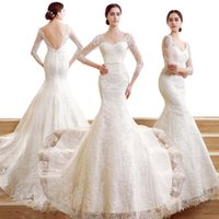 Wholesale ZCL07 Luxury Crystal Beaded Mermaid Fall Winter Wedding Dresses Long Sleeve Fall Lace V Neck Elegant Backless Bridal Gown