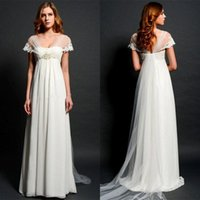 Wholesale 2016 Latest Empire Maternity Wedding Dresses Eiffelbride with Sexy Shining Beaded Lace Waist and Unique Cap Sleeve Long Train Bridal Gowns