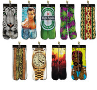 Stockings sport socks - Cotton Mens D Printed Socks Printing ODD Socks Three dimensional tie dye socks Bottom hip hop socks Sport Socks Styles