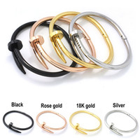Wholesale Ms Punk cool nails bangle bracelet stainless steel rose gold screw bracelet Couples nail Bangle bracelet Star with ms nails bangle bracelet