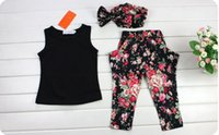 Wholesale Retails sets to years Kids girls Clothing sets Girl Dress Summer Tank Tops Flower Pants Girls Headbands children Kids girls Suit Outfits