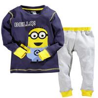 bebe kids characters - 100 Cotton Kids Boys Minion Suit Casual Longsleeve Shirt Pant Toddle Children s Set Bebe Terno Pajama Baby M Y Autumn Gaps