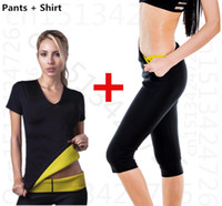 sweat suit - Sport Hot Shapers Women Neoprene Thermal Slimming pants T shirt set Body Slimming suit sweating shapers waist training corsets
