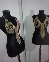Wholesale 1PCS Vintage Tassel Bra Chains Body Chains Jewelry Bikini Crossover Bikini Chains Vintage Waist Chains Belly Chain Body Jewelry
