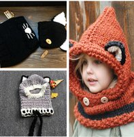 Wholesale warm hat Boys and girls knitting Three styles Three colors Neck and ear protection Cute fox shape
