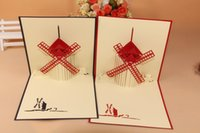 pop up greeting card - Romantic pop up D Windmill greeting paper card handmade Creative Kirigami Origami Gift Cards Thank You Cards
