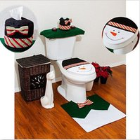 Cheap Christmas Toilet Seat Cover and Rug Set Foot Pad Green Snowman Bathroom Decorations 3pcs set