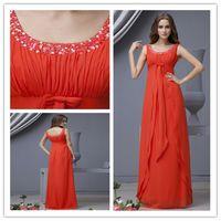 Wholesale 2015 shoulder beaded chiffon evening dress formal evening dress floor length prom dress plus size evening dress