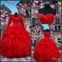 ball jacks - Red Ball Gown With Long Sleeves Bolero Sweetheart Lace up Beaded Contoured Sweet Princess Prom Gowns Quinceanera Dresses with Jack