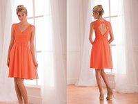 grapefruit - Grapefruit A Line Bridesmaid Dresses Poly Chiffon V Neckline Sleeveless Knee Length Short Lace Fomal Party Dress Zipper Open Back B173009