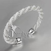 Wholesale Sterling Silver Twisted Wire Bracelet - drop shipping 10pcs lot Christmas gift 2016 Girls delicate bracelets Twisted bead wire mesh bracelet 925 silver bracelet