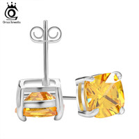 Wholesale 8mm Cushion Cut Yellow Zircon Earring Stud on Platinum Plated Imitation Diamond Earring for Women OE124