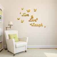 acrylic plastic adhesive - DIY Mirror Butterfly Wall Stickers Live Love Laugh Wall Art Stickers Home Decor Art Acrylic D Sticker