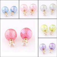 american deals - Super Deal Brand Cheap Double Pearl Earrings Colorful Statement Zircon Channel Stud Crystal Earring Wedding Jewelry For Women EH118