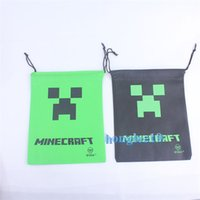 Wholesale New hot Minecraft Polyester color kid sling storage pocket anime cartoon string student buggy pouch bag DHL
