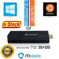 Wholesale In Stock Meegopad T02 GB GB Mini PC Windows HDMI TV Player Win Dongle Quad Core Intel Atom TV Stick Wifi and Bluetooth order lt no