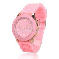 al por mayor reloj de señora del cuarzo de la jalea de color rosa-Al por mayor-señora Jelly color del caramelo del reloj del cuarzo de silicio correa de reloj del dial redondo rosa E1Xc
