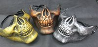 horror masks - Halloween Horror mask skeleton warrior CS actual combat equipped with half face shield three generation chief skeleton mask